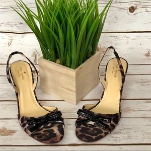KATE SPADE shoes high heels leopard satin bow 10B